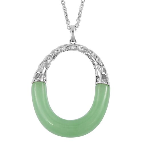 RACHEL GALLEY Green Jade Pendant with Chain (Size 30) in Rhodium Plated Sterling Silver 29.110 Ct. Silver wt 10.08 Gms.