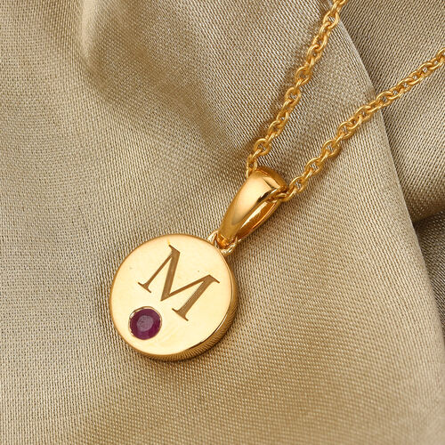 Personalise Initial Engraved and Birthstone Disc Pendant with Chain in Silver