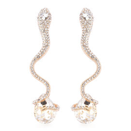 Simulated Diamond Dangle Snake Earrings (with Push Back) in Yellow Gold Tone