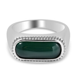 Green Agate Ring in Stainless Steel 5.70 Ct