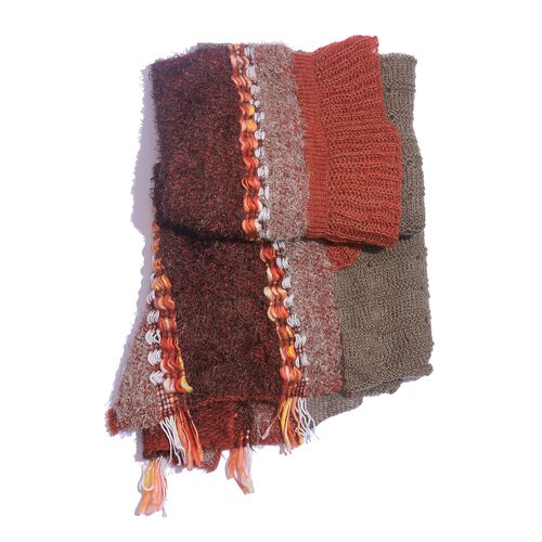Taupe, Red and Light Chocolate Colour Winter Scarf with Fringes (Size 175x90 Cm)