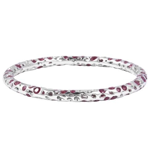 RACHEL GALLEY 18.77 Ct African Ruby Bangle in Rhodium Plated Sterling Silver 18.76 Grams