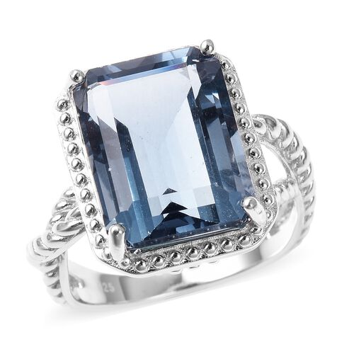 14.25 Ct Teal Fluorite Solitaire Ring in Rhodium Plated Silver 5.80 Grams