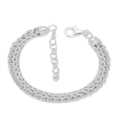Vicenza Collection Sterling Silver Byzantine Bracelet (Size 7 with 1.5 inch Extender), Silver wt 13.56 Gms.