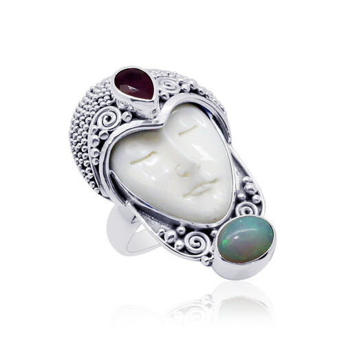 Princess Bali Collection Ox Bone Carved Face Ovl 8 00 Ct Ethiopian Welo Opal And African Ruby Ring In Sterling Silver 9 337 Ct 1533119 Tjc