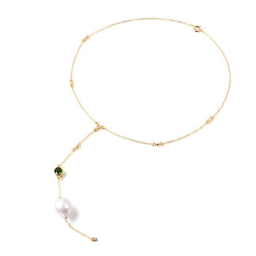 Isabella Liu Twilight Collection - Baroque Edison Pearl, Diamond and Russian Diopside Lariat Necklac