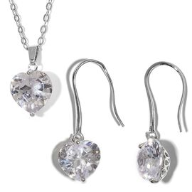 2 Piece Set  - Simulated Diamond (Hrt 8 mm) Heart Pendant With Chain (Size 18 with 2 inch Extender)