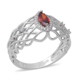 ELANZA Simulated Ruby and Simulated Diamond Ring in Rhodium Overlay Sterling Silver