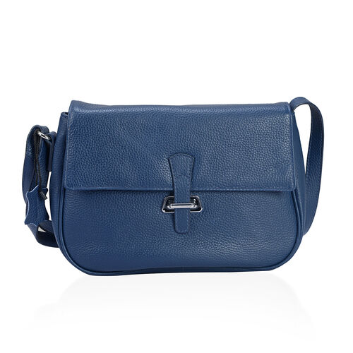 Super Soft 100% Genuine Leather Navy Colour Cross Body Bag with Adjustable Sling Strap  27x18x7.5 Cm