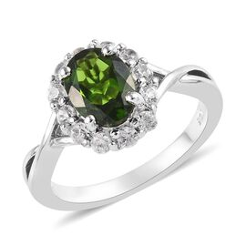 1.75 Ct Russian Diopside and Zircon Halo Ring in Platinum Plated Sterling Silver