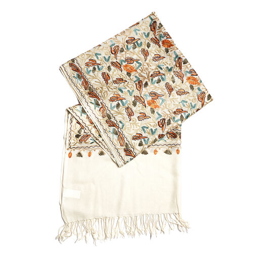 New Season-100% Merino Wool Cream, Orange and Multi Colour Flower and Leaves Embroidered Shawl (Size 190x70 Cm)