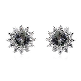 9K White Gold AA Peacock Tanzanite (Rnd), Natural Cambodian Zircon  Earrings (with Push Back) 1.000 Ct.