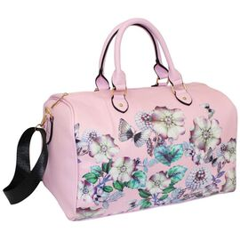 Floral Printed Large Size Duffle Weekend Bag (Size 32x41x22Cm)  - Pink
