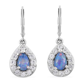 Australian Boulder Opal (Pear), Natural Cambodian Zircon Lever Back Earrings in Platinum Overlay Sterling Silver