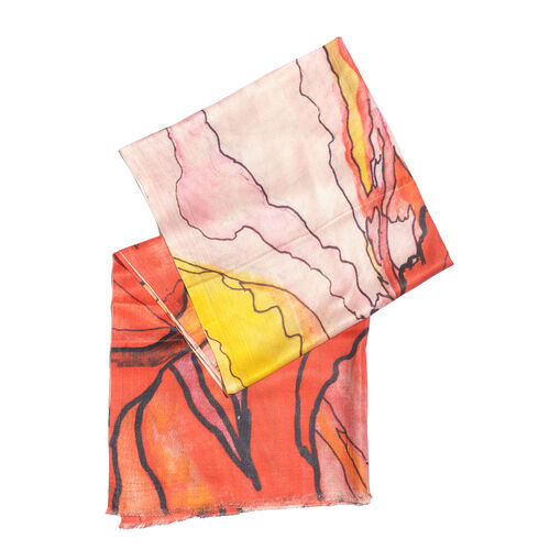One Time Deal- 100% Modal Orange, Red and Multi Colour Digital Printed Scarf (Size 200x70 Cm)