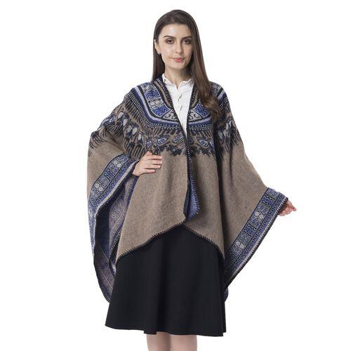 Designer Inspired- Coffee Colour Santa Fe Style Pattern Blanket Kimono (Size 150x130 Cm)