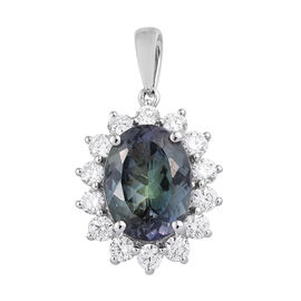 RHAPSODY 8.75 Ct AAAA Peacock Tanzanite and Diamond Halo Pendant in 950 Platinum 4 Grams