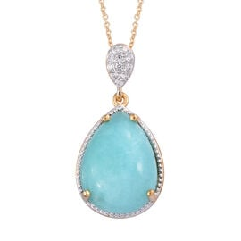 Natural Peruvian Amazonite (Pear 18x13 mm), Natural Cambodian Zircon Pendant With Chain (Size 20) in