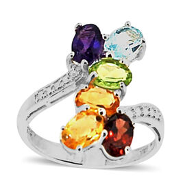 Designer Inspired- Brazilian Citrine (0.90 Ct),Mozambique Garnet,Sky Blue Topaz,Chinese Peridot,African Amethyst Sterling Silver Ring  3.000  Ct.