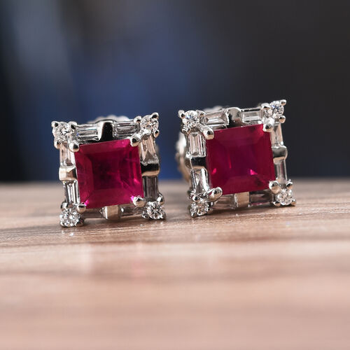 RHAPSODY 950 Platinum AAAA Burmese Ruby (Sqr), Diamond (VS/E-F) Stud Earrings (with Screw Back) 1.150 Ct.