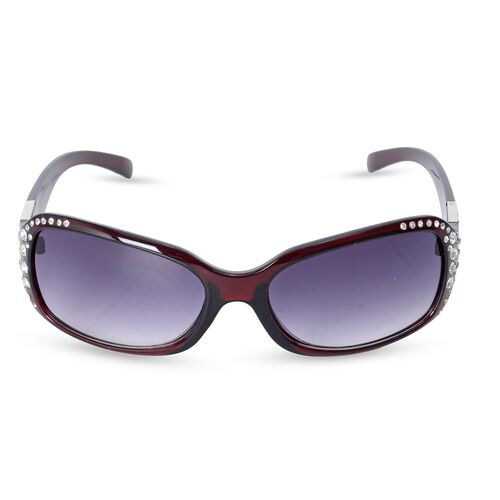 Shiny Wine Classic Shaped Frame Sunglasses with Crystals and UV Protection Lenses Including Hard Plastic Black Pouch