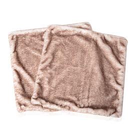 2 Piece Set - Faux Fur and Faux Mink Cushion Cover (Size 45x45 Cm) - Colour Brown