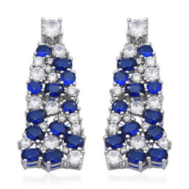 ELANZA Simulated Blue Sapphire, Simulated Diamond Earrings (with Push Back) in Rhodium Overlay Sterl