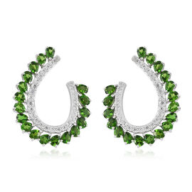 Russian Diopside (Pear),Natural Cambodian Zircon Earrings (with Push Back) in Platinum Overlay Sterling Silver 7.000 Ct, Silver wt 9.16 Gms.