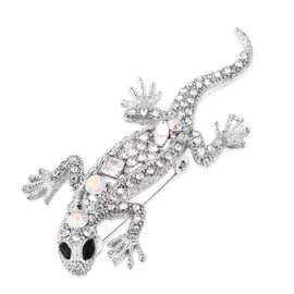 White and Mystic Austrain Crystal Lizard Brooch in Silver Plated