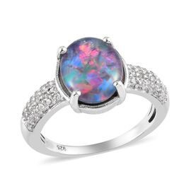 Australian Boulder Opal and Natural Cambodian Zircon Ring in Platinum Overlay Sterling Silver