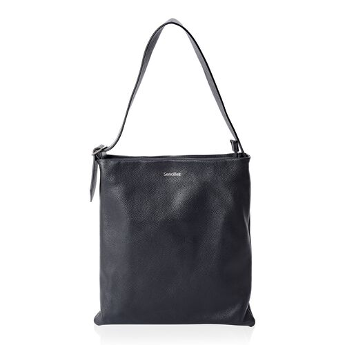 Sencillez Classic Black 100% Genuine Nappa Leather Tote Bag with Adjustable Shoulder Strap (Size 39x