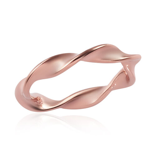 Rose Gold Overlay Sterling Silver Twisted Ring