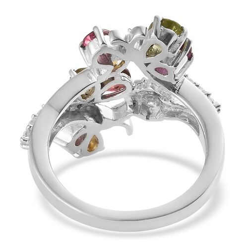 Rainbow Tourmaline (Pear), Natural Cambodian Zircon Butterfly Ring in Platinum Overlay Sterling Silver 1.350 Ct.