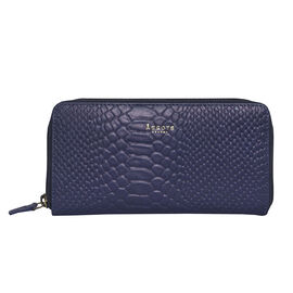 Assots London HAZEL Python Embossed Genuine Leather Zip Around Purse (Size 20x2x10 Cm) - Navy