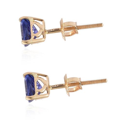 ILIANA 18K Yellow Gold AAA Tanzanite (Trl) Studs Earrings (with Screw Back) 1.500 Ct.