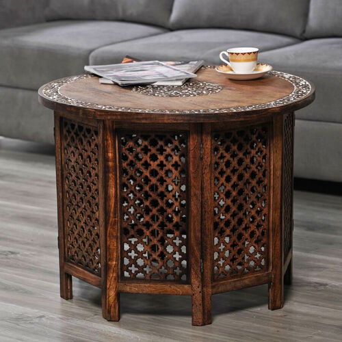 NAKKASHI - Hand Carved Solid Mango Wood Round Table in Natural Finish (Size 51x68 Cm) with Jali Knock Down Stand- Dark Brown
