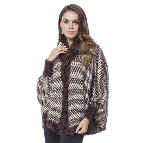 Black and White Colour Stripes Pattern Cape (Size 112X80 Cm)