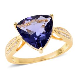 Simulated Tanzanite (Trl 10 mm), Simulated Diamond Ring in Yellow Gold Overlay Sterling Silver