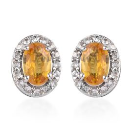 9K White Gold Yellow Sapphire and Natural Cambodian Zircon Stud Earrings 1.40 Ct.