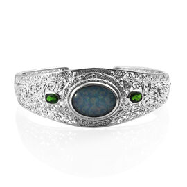 Boulder Opal and Russian Diopside Cuff Bangle in Platinum Plated Sterling Silver 31.6 Grams 7.5 Inch