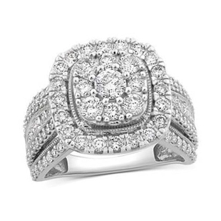 NY Close Out- 14K White Gold Diamond (I1/G-H) Cluster Ring 3.04 Ct, Gold wt. 9.19 Gms