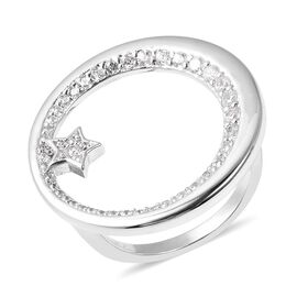 Isabella Liu Twilight Collection Cambodian Zircon Moon Ring in Rhodium Plated Silver 5.74 Grams