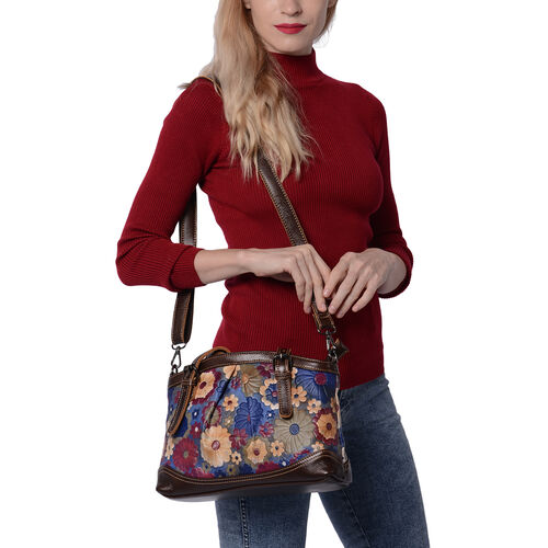 100% Genuine Leather Embossed Floral Pattern Satchel Bag (Siz3 31x9x21cm) - Blue and Multi Colour