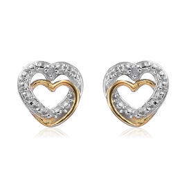 Diamond (Rnd) Heart Stud Earrings (with Push Back) in Platinum and Yellow Gold Overlay Sterling Silv