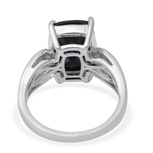 Natural Boi Ploi Black Spinel (Cush), Natural White Cambodian Zircon Ring in Rhodium Overlay Sterling Silver 13.82 Ct, Silver wt 5.00 Gms