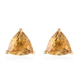Citrine (Trl) Stud Earrings with Push Back in Sterling Silver 2.200  Ct.