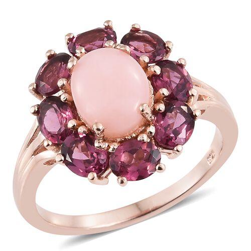 Peruvian Pink Opal (Ovl 2.00 Ct), Rhodolite Garnet Flower Ring in Rose Gold Overlay Sterling Silver 5.500 Ct.