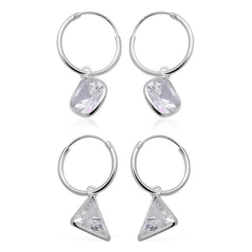 ELANZA - Set of 2 Simulated Diamond Hoop Earrings in Sterling Silver