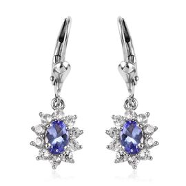 2.08 Ct Tanzanite and Zircon Halo Drop Earrings in Platinum Plated Silver