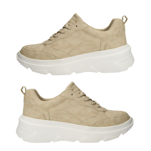 Taupe Trainers with Lace Detail